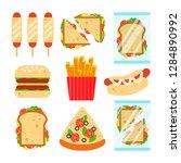 fast food set for luncheonette...   Shutterstock .eps vector #1284890992