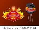 party bbq barbecue poster with... | Shutterstock .eps vector #1284892198