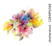 watercolor colorful flowers.... | Shutterstock . vector #1284896368