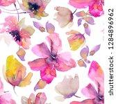 pink flowers seamless pattern.... | Shutterstock . vector #1284896962