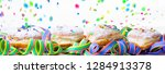carnival berliner donuts on... | Shutterstock . vector #1284913378