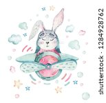 Stock photo hand drawing fly cute easter pilot bunny watercolor cartoon bunnies with airplane turquoise 1284928762