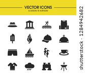 summer icons set with backpack  ...