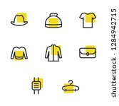 clothing icons set with hanger  ...