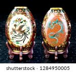 Antique Japanese cloisonne vase made in the Meiji Period around 1890 showing front and back .