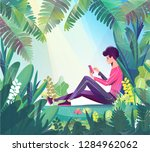 concept in flat style. young... | Shutterstock .eps vector #1284962062