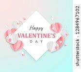 paper art of happy valentine's... | Shutterstock .eps vector #1284967102