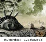 destroyed statue of liberty... | Shutterstock . vector #1285003585