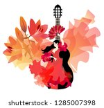 spanish girl in red dress with... | Shutterstock .eps vector #1285007398