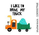 cute dino traveling in truck.... | Shutterstock .eps vector #1285007968