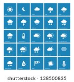 weather icons on blue... | Shutterstock .eps vector #128500835
