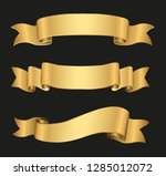 golden ribbon banners set | Shutterstock .eps vector #1285012072