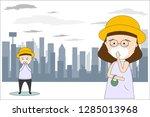 men and women wear masks n95 to ... | Shutterstock .eps vector #1285013968