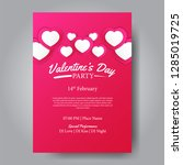 valentine's day party poster... | Shutterstock .eps vector #1285019725