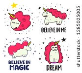 set of cute unicorn icons.... | Shutterstock .eps vector #1285025005