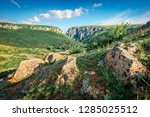 sunny morning view of cheile... | Shutterstock . vector #1285025512