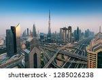 dubai sunset panoramic view of... | Shutterstock . vector #1285026238