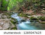 mountain river in summer. water ... | Shutterstock . vector #1285047625