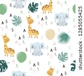 hand drawn seamless pattern... | Shutterstock .eps vector #1285055425