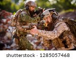 army rangers with assault... | Shutterstock . vector #1285057468