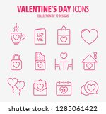 valentine's day flat line icons ... | Shutterstock .eps vector #1285061422