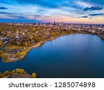 Colorful Drone Sunset Over Sloan's Lake in Denver, Colorado - stock photo