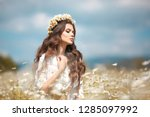 beautiful young girl with... | Shutterstock . vector #1285097992