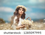 beautiful young girl with... | Shutterstock . vector #1285097995