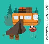 rv camping outside vector | Shutterstock .eps vector #1285104268