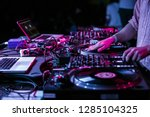 club party dj plays music with... | Shutterstock . vector #1285104325