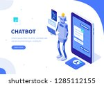 chatbot concept. can use for... | Shutterstock .eps vector #1285112155