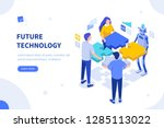 interaction between team and... | Shutterstock .eps vector #1285113022