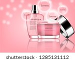 pink perfume with opened cream... | Shutterstock .eps vector #1285131112