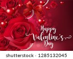 valentine's day greeting card... | Shutterstock .eps vector #1285132045