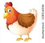 illustration of a mother hen on ... | Shutterstock .eps vector #128516036