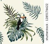 tropical vintage toucan parrot... | Shutterstock .eps vector #1285176622