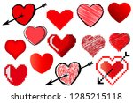 a set of different hearts in... | Shutterstock .eps vector #1285215118