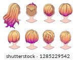 beautiful hairstyle of woman... | Shutterstock .eps vector #1285229542