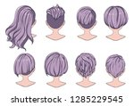 beautiful hairstyle of woman... | Shutterstock .eps vector #1285229545