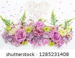 beautiful  flowers on white ... | Shutterstock . vector #1285231408