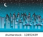 cityscape night  silhouettes of ... | Shutterstock .eps vector #12852439