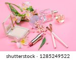 cosmetics for makeup on pink... | Shutterstock . vector #1285249522