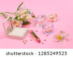 cosmetics for makeup on pink... | Shutterstock . vector #1285249525