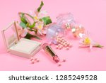 cosmetics for makeup on pink... | Shutterstock . vector #1285249528