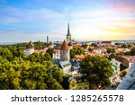 Small photo of Late afternoon sunset view overlooking the medieval walled city of Tallinn Estonia on an early autumn day in the Baltics region of Northern Europe.
