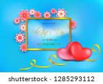valentines day sale gift card... | Shutterstock .eps vector #1285293112