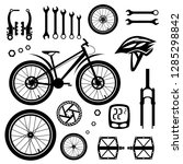bicycles. set of bicycle parts. ... | Shutterstock .eps vector #1285298842