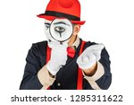 male mime looking through the... | Shutterstock . vector #1285311622