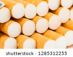 cigarettes in a pack closeup on ... | Shutterstock . vector #1285312255