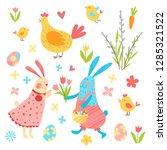 happy easter vector set. cute...   Shutterstock .eps vector #1285321522